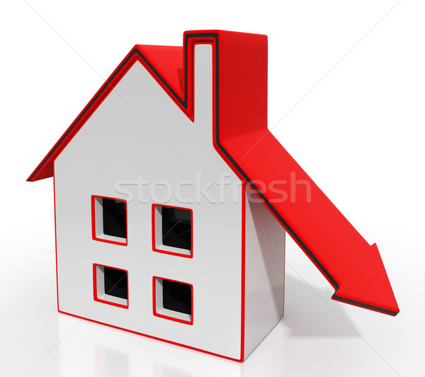 House And Down Arrow Shows Property Recession Stock photo © stuartmiles