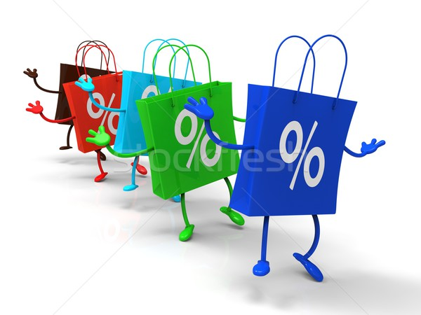 Percent Sign On Shopping Bags Shows Bargains Stock photo © stuartmiles