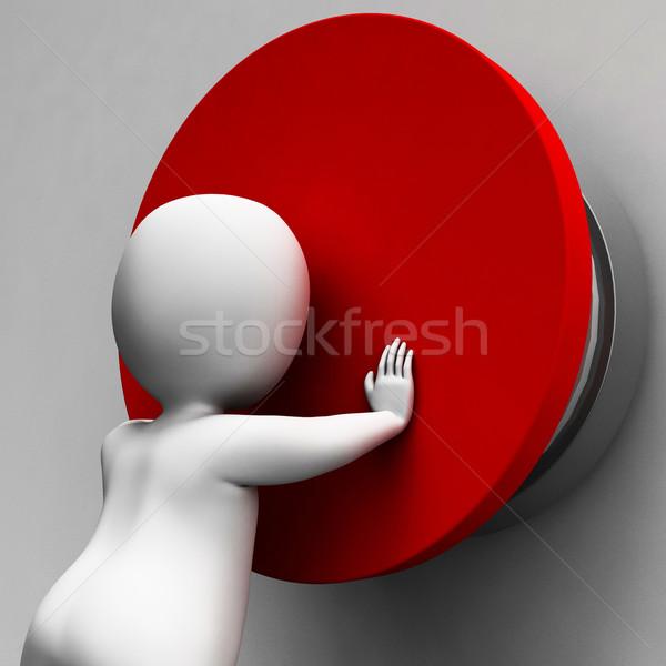 Man Pushing Button Showing Controlling Stock photo © stuartmiles