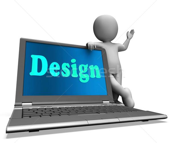 Design On Laptop Shows Creative Artistic Designing Stock photo © stuartmiles