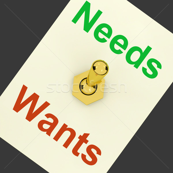 Needs Wants Lever Shows Requirements And Luxuries Stock photo © stuartmiles