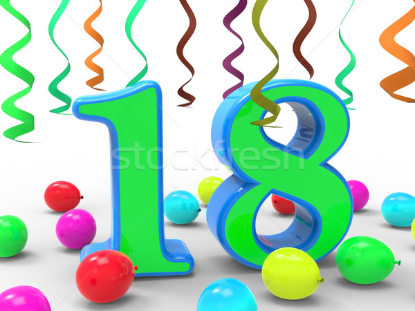 Number Eighteen Party Means Colourful Teen Celebration Or Event Stock photo © stuartmiles