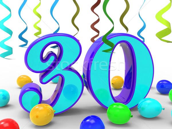 Aantal dertig partij ingericht kleurrijk betekenis Stockfoto © stuartmiles
