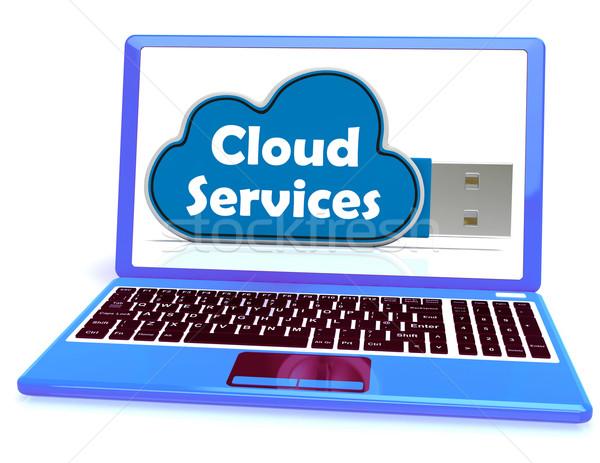 Felhő alapú szolgáltatások emlék bot laptop internet akta Stock fotó © stuartmiles