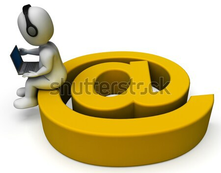 Businessman Working Online Indicates Send Message And Biz Stock photo © stuartmiles