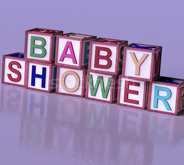 Kids Blocks Spelling Baby Shower As Symbol for Babies And Newbor Stock photo © stuartmiles
