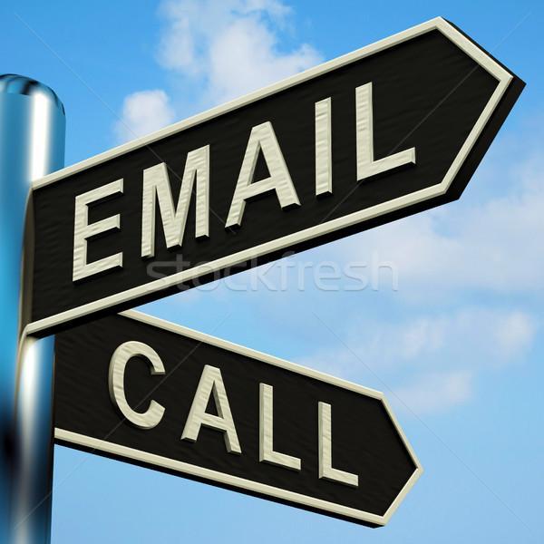 E-mail chamar instruções poste de sinalização metal telefone Foto stock © stuartmiles