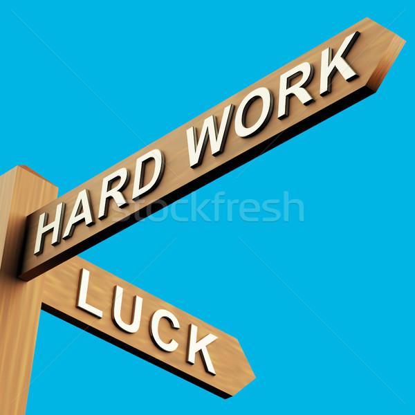 Trabalho duro instruções poste de sinalização trabalhar Foto stock © stuartmiles