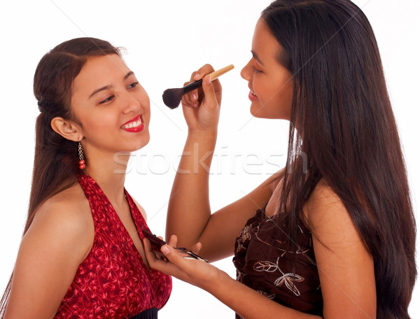 Girl Giving Her Friend A Make Over Stock photo © stuartmiles