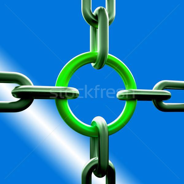 Groene keten link sterkte veiligheid tonen Stockfoto © stuartmiles