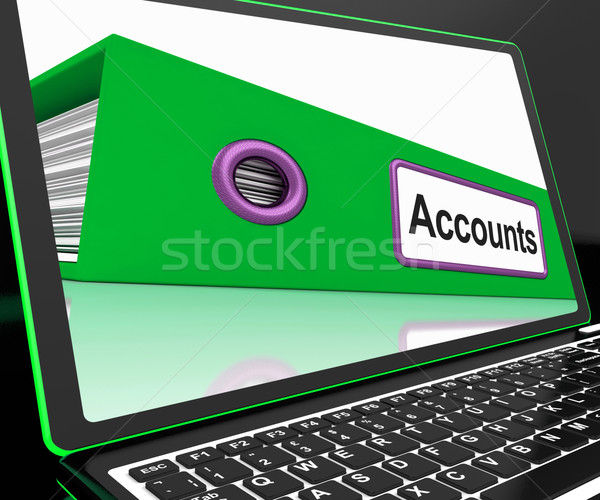 Accounts File On Laptop Shows Accounting Stock photo © stuartmiles