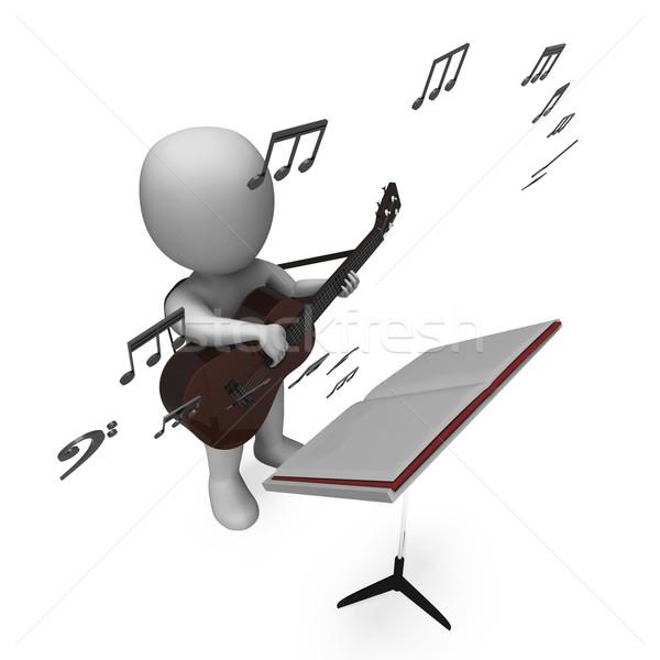 Müzisyen gitarist karakter gitar müzik Stok fotoğraf © stuartmiles