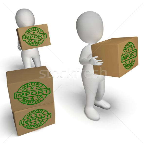 Import Boxes Show Importing Goods and Merchandise Stock photo © stuartmiles