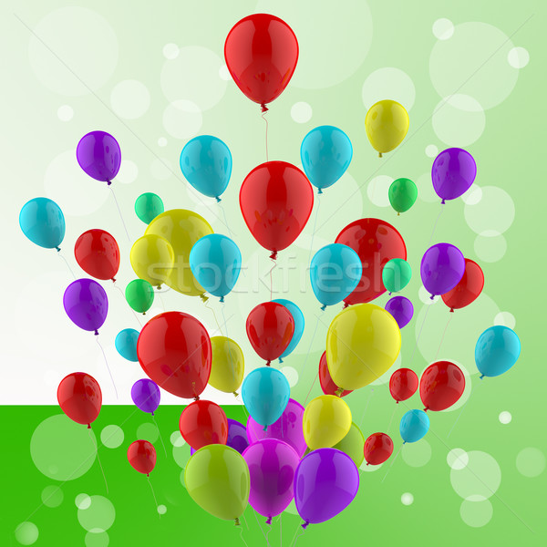 Floating Colourful Balloons Mean Cheerful Ceremony Or Multicolou Stock photo © stuartmiles
