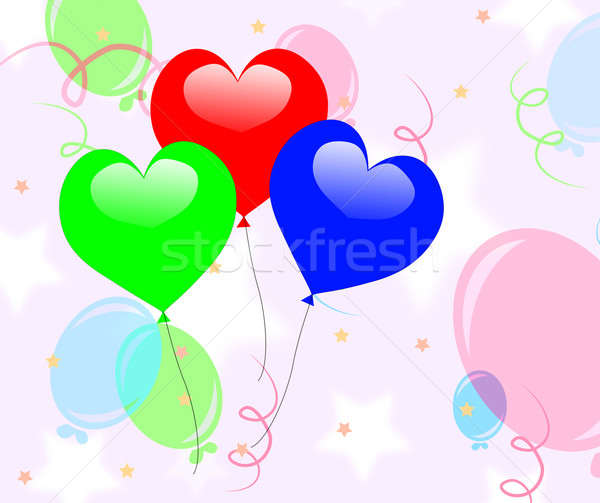 Colourful Heart Balloons Mean Romantic Party Or Celebration Stock photo © stuartmiles