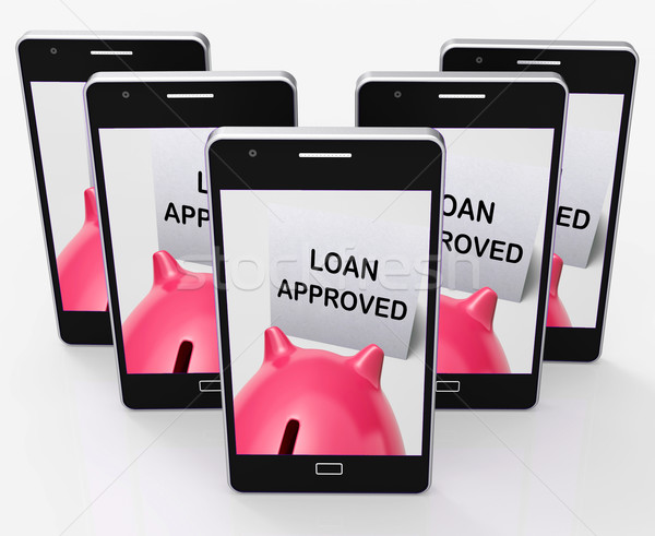 Stock photo: Loan Approved Piggy Bank Means Borrowing Authorised