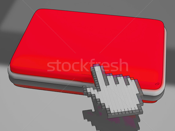 Cursor Hand On Button Background Shows Blank Copyspace Click Her Stock photo © stuartmiles