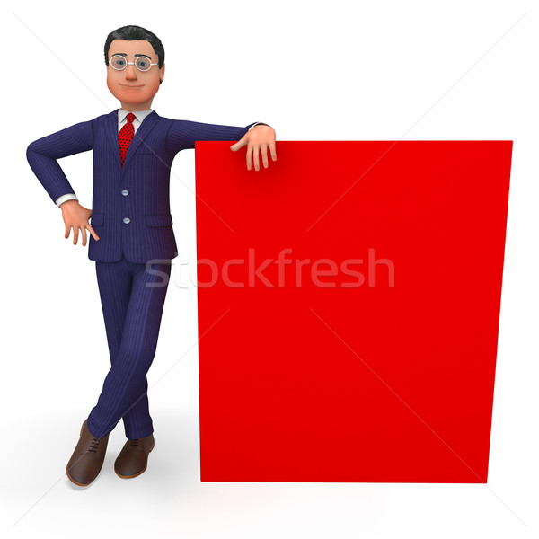 Businessman Beside Signboard Means Blank Space And Announcement Stock photo © stuartmiles