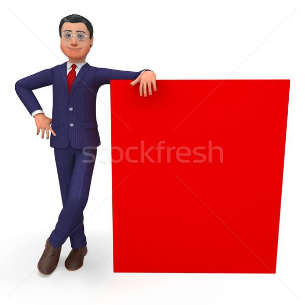 üzletember vmi mellett üres hely közlemény copy space felirat Stock fotó © stuartmiles