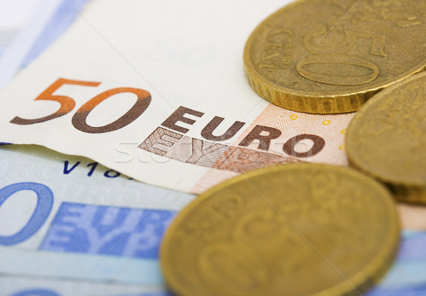 Euros Cash And Coins For Spending Stock photo © stuartmiles