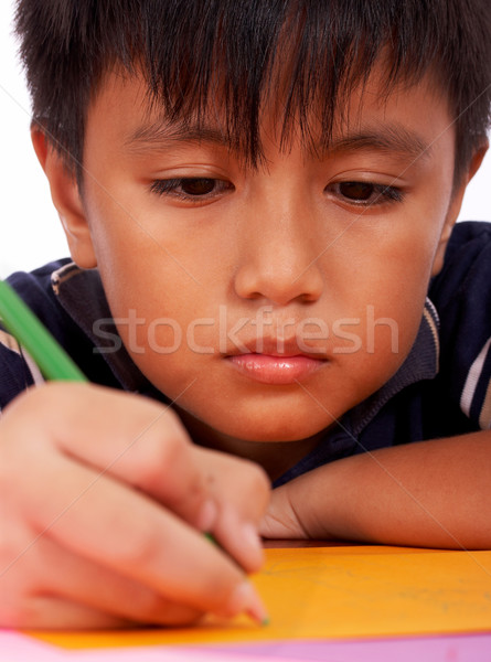 Boy Concentrating On His Drawing Stock photo © stuartmiles