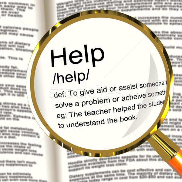 Stockfoto: Helpen · definitie · vergrootglas · tonen · ondersteuning · hulp