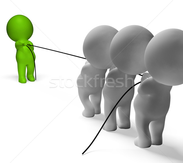 Tug Of War 3d Characters Shows Strength And Adversity Stock photo © stuartmiles