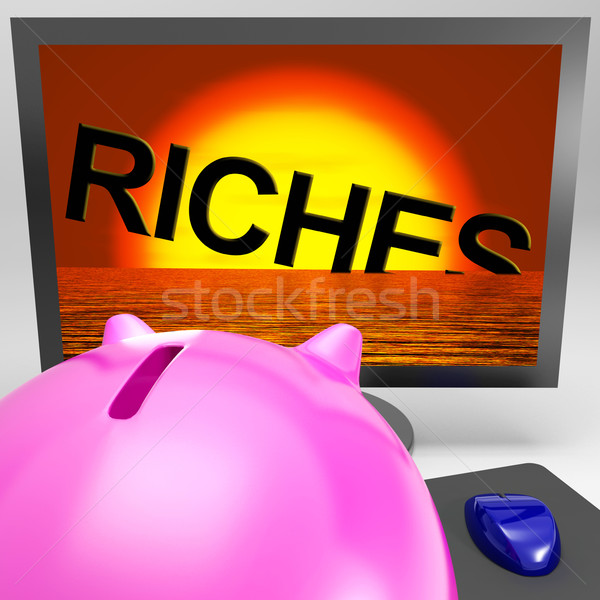 Riches Sinking On Monitor Shows Bankruptcy Stock photo © stuartmiles