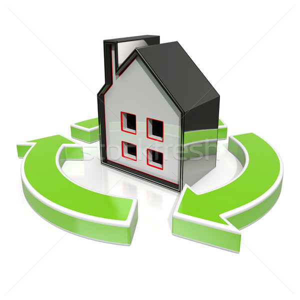 House Icon Shows Home Flipping Stock photo © stuartmiles