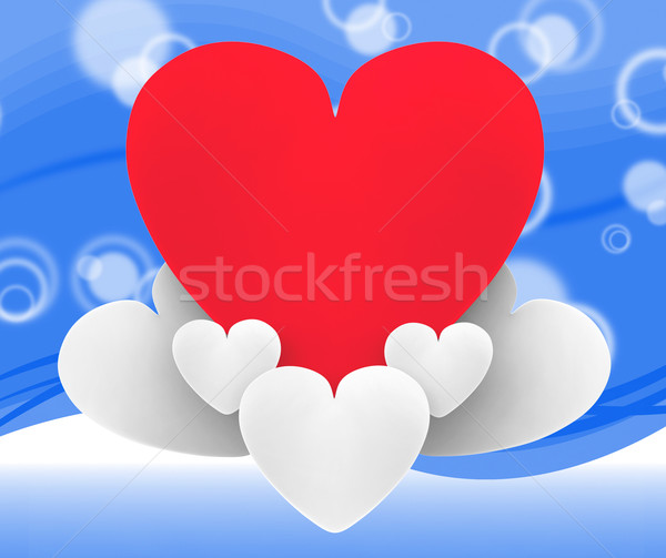 Heart On Heart Clouds Shows Romantic Imagination And Dreams Stock photo © stuartmiles