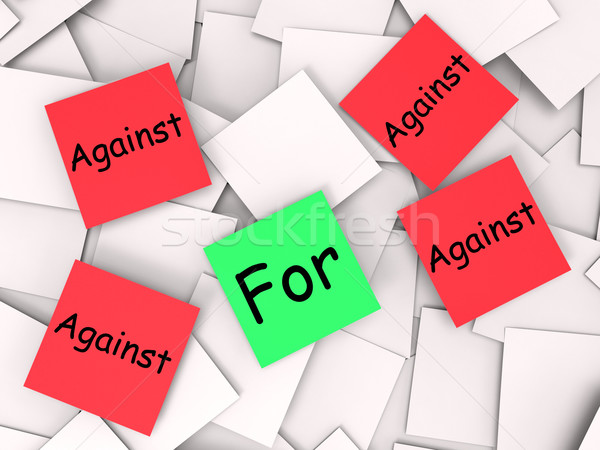 For Against Post-It Notes Mean In Favor Or Opposed Stock photo © stuartmiles