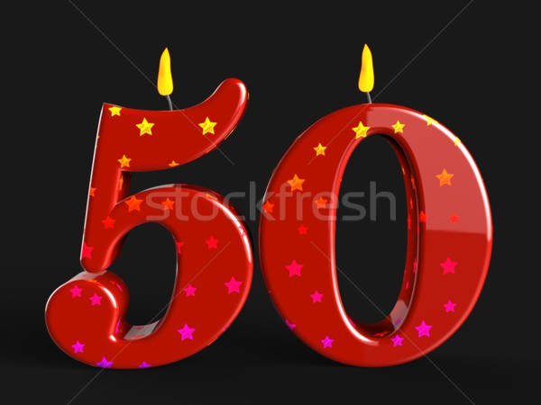 Number Fifty Candles Show Fiftieth Birthday Candles Or Celebrati Stock photo © stuartmiles