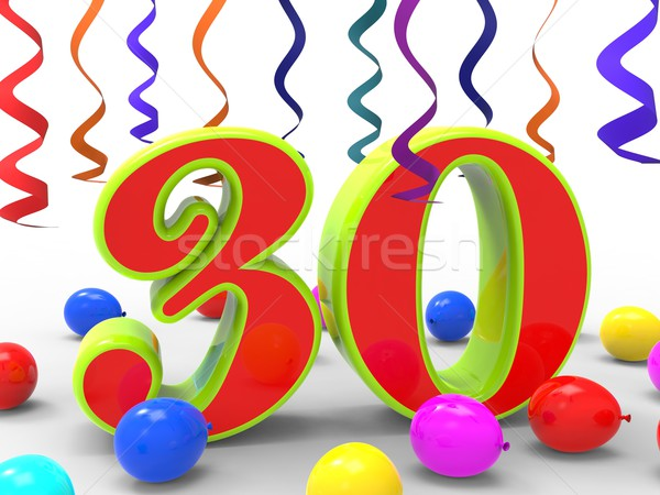 Number Thirty Party Shows Colourful Creative Decoration And Brig Stock photo © stuartmiles