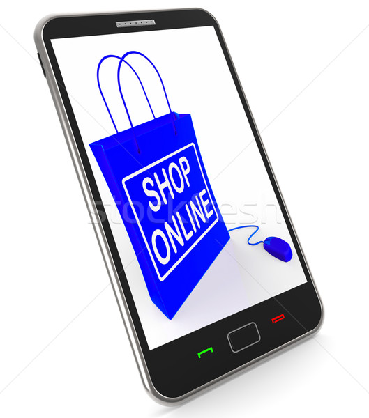 Shop Online Bag Shows Internet Shopping and Buying Stock photo © stuartmiles