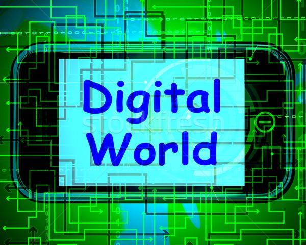 Digital World On Phone Means Connection Internet Web Stock photo © stuartmiles