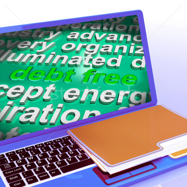 Debt Free Word Cloud Laptop Means Financial Freedom And No Liabi Stock photo © stuartmiles