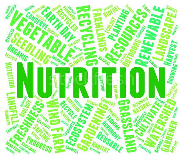 Nutrition Word Shows Food Words And Nutriments Stock photo © stuartmiles