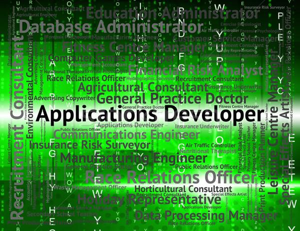 Applications Developer Shows Program Recruitment And Employee Stock photo © stuartmiles