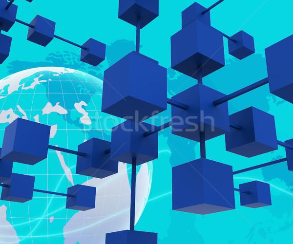 Hálózat számítógép partnerek együttműködik együtt dolgozni bolygó Stock fotó © stuartmiles