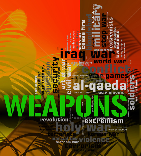 Weapons Word Means Armament Armoury And Wordclouds Stock photo © stuartmiles
