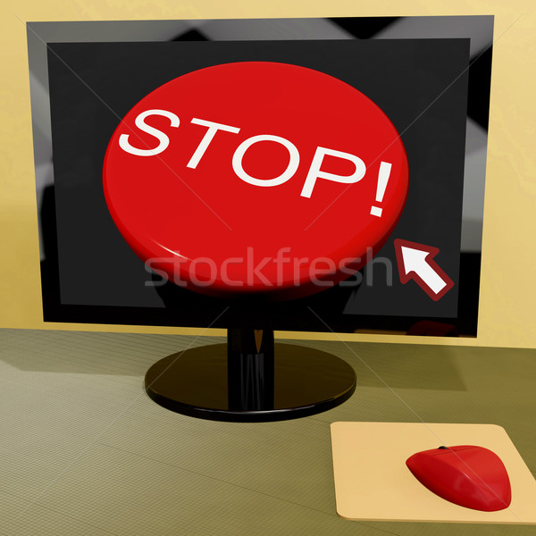 Stop Button On Computer Shows Denial Or Disapproval Stock photo © stuartmiles