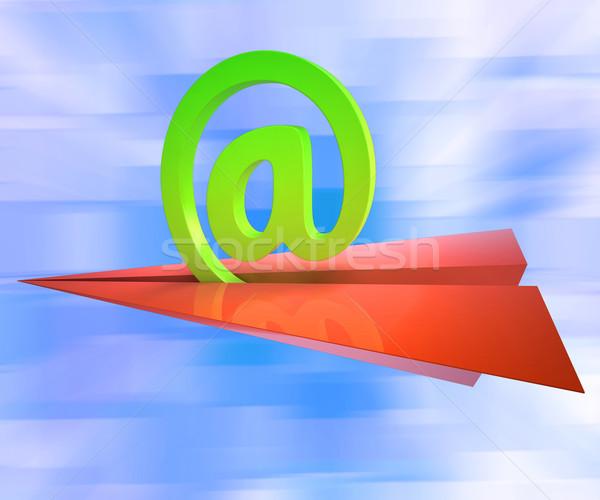 At Sign Aeroplane Shows E-mail Sending Post Stock photo © stuartmiles