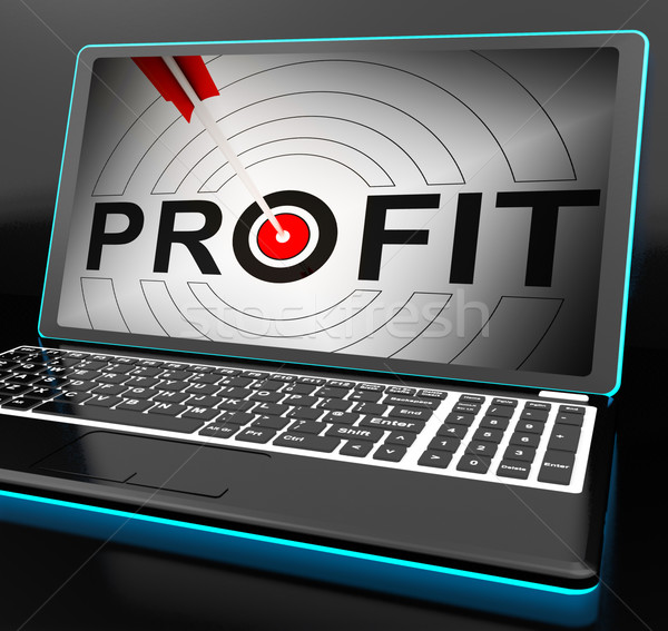 Profit On Laptop Showing Expected Incomes Stock photo © stuartmiles