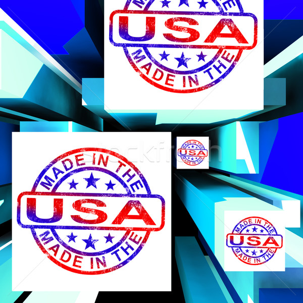 Made In The USA On Cubes Showing Patriotism Stock photo © stuartmiles