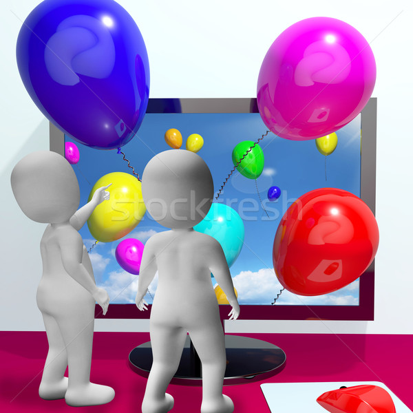 Balloons Coming From Screen Show Online Celebrations Greeting Stock photo © stuartmiles