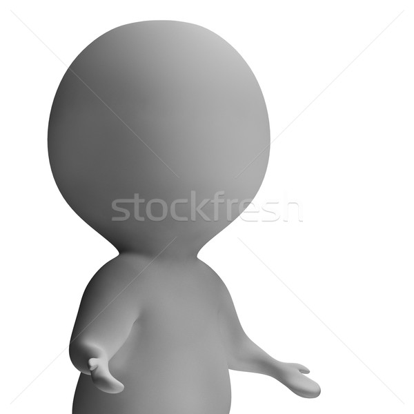 Shrug And 3d Character Showing Ignorance And Incomprehension Stock photo © stuartmiles