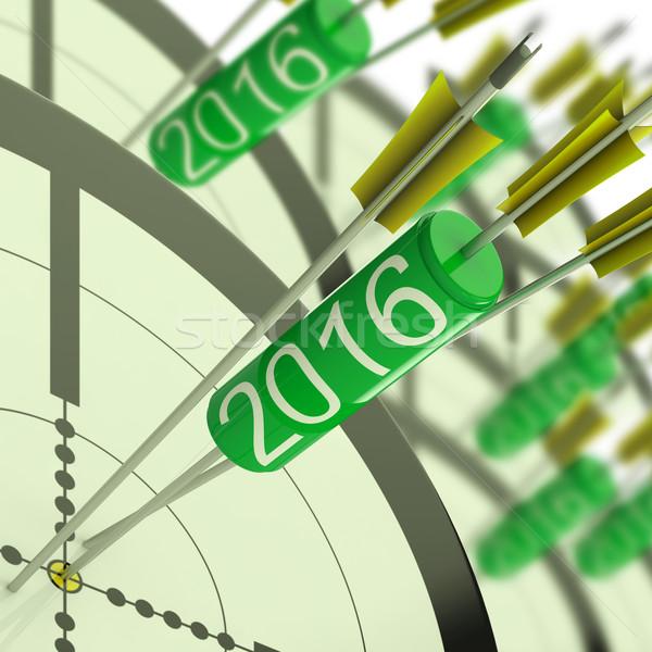 2016 nauwkeurig dart target geslaagd toekomst Stockfoto © stuartmiles