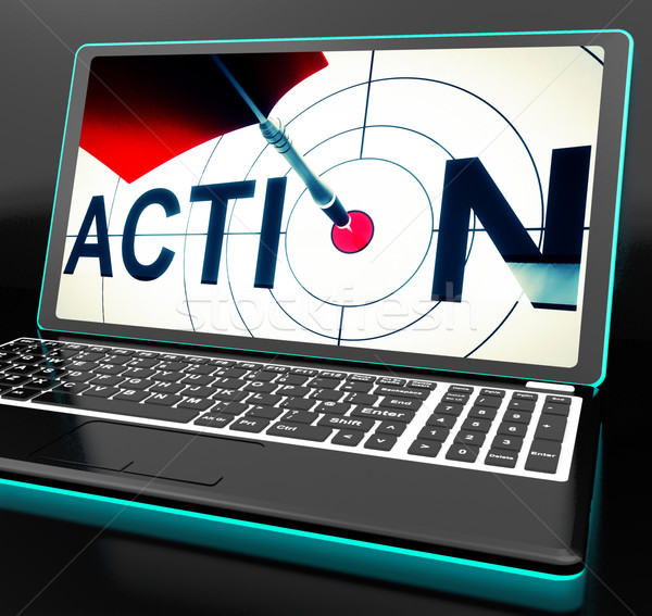 Action On Laptop Shows Motivation Stock photo © stuartmiles