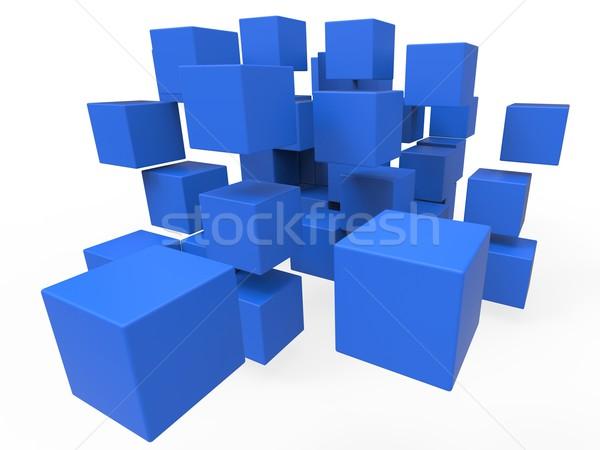 Exploded Blocks Showing Unorganized Puzzle Stock photo © stuartmiles
