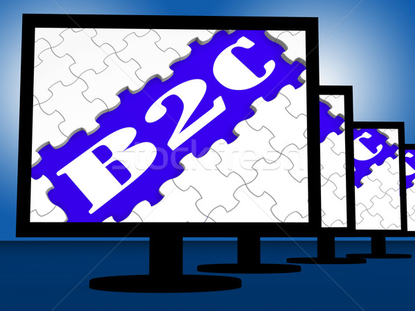 B2c On Monitors Shows Internet Business To Customer Or Consumer Stock photo © stuartmiles